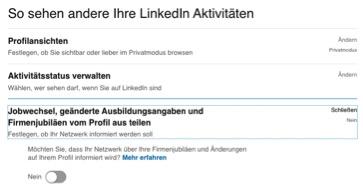 LinkedIn Aktivitäten verbergen Jobwechsel nicht anzeigen