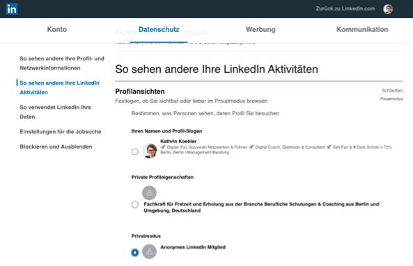 LinkedIn Privatmodus aktivieren