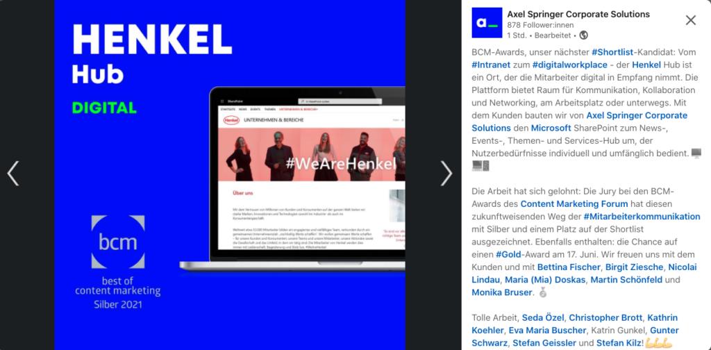 social media interne kommunikation konzern, henkel hub, henkel intranet